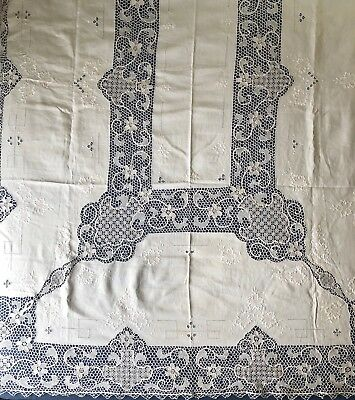 Vintage large handmade Needle lace and Embroidery BANQUET TABLECLOTH
