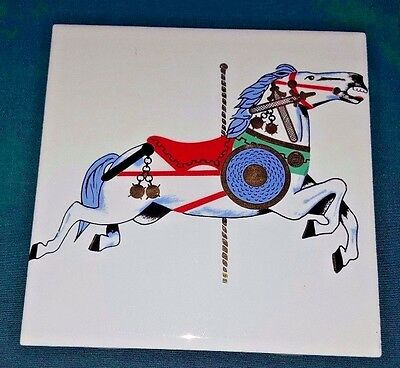 """6"""" Square Ceramic Tile EP w/ GORGEOUS Carousel Horse~Hand Painted & Gold Accents"""