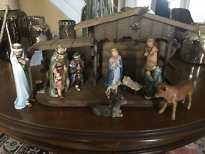 Goebel Hummel Figurine Nativity Set with Wooden Manger with 10 Pieces