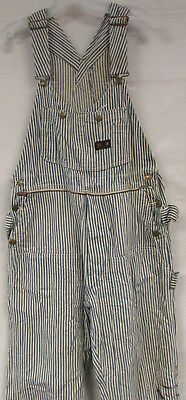 Vintage Big Smith Hickory Stripe Denim Overalls Sanforized Sz 30X30 Distressed