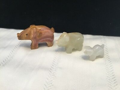 Lot of 3 Hand Carved marble onyx stone Mini Pig Figurines  (H9)