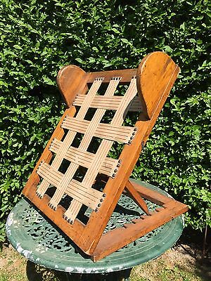 Vintage Wooden Back rest Bed Support Camping Garden Oak foldable Floor Lounger