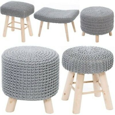 Knitted Cotton Pouffe Chair Braided Cushion Footstool Seat Rest with Wooden Legs