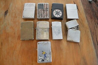 Vintage Zippo Lighters Lot Of 9 ,not Working,parts Or Repairs