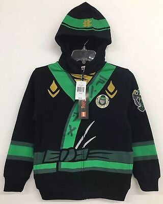 Lego Ninjago Boys Green Ninja Full-Zip Black Hoodie Lloyd Costume 10/12 NWT $45