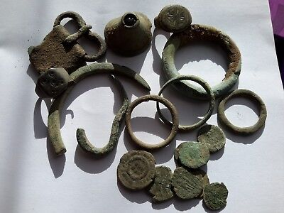 Roman bronze artefacts -incl. coins,ring-bezel,rings,buckle,UK found.