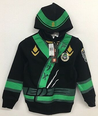Lego Ninjago Boys Green Ninja Full-Zip Black Hoodie Lloyd Costume Sz 8 NWT $45