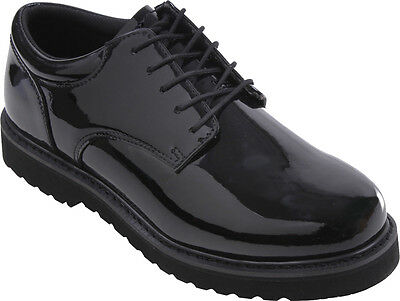 Mens Black Shiny Uniform Oxford Shoes with Work Sole