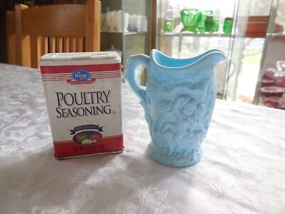 Antique English Mini Jug in Blue Slag Glass Drunk Baccus with Grape Vines