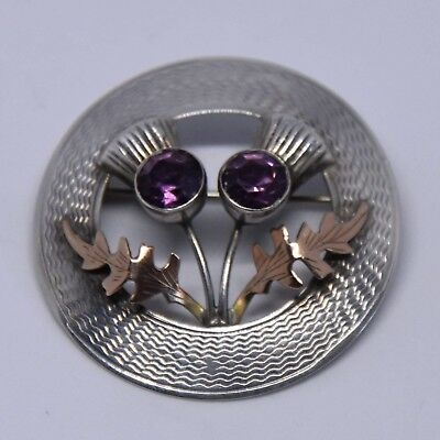 Gorgeous Solid Silver & 9ct Gold Thistle Brooch Glasgow 1957 Ward Bros