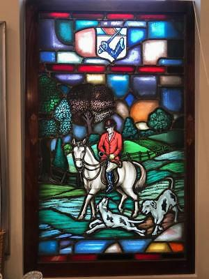 RARE Set of 4 LAMB Studios EQUESTRIAN Fox Hunt Figural Stained Glass Windows