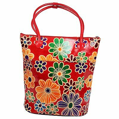 Real Leather India Shantiniketan Floral Tote Bag Shopper Red Painted Large Boho