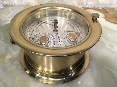 VTG SOLID BRASS WUERSCH FALL RIVER MASS ship's BAROMETER THERMOMETER HYGROMETER