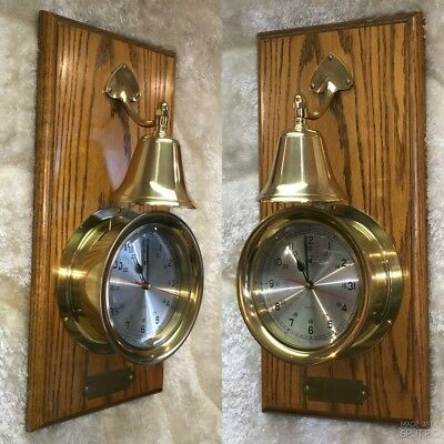 Amazing Large Heavy Solid Brass Wall Ship's Strikes Bill Clock In Wood Case Work