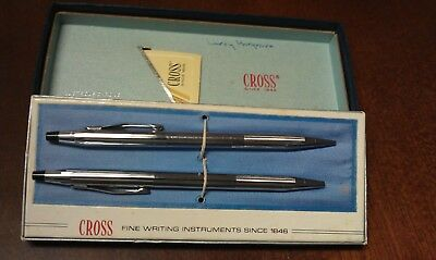 VINTAGE Cross gift set pen and pencil #3501 chrome in box with instructions VGC