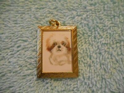 LHASA APSO Charm in gold tone frame hand painted for necklace or bracelet.