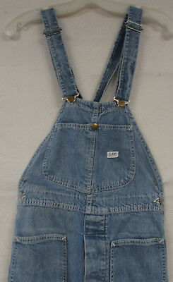 Womens Vintage Denim Overalls Lee Bibs Unique Front Pockets Small 26X32 Bell