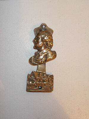 Vintage solid brass door knocker. Head of Shakespeare and  house.