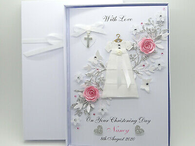 Handmade Personalised Christening/Baptism Naming Day Card Girl, Daughter Box