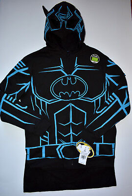 NEW BATMAN Boys Hoodie Jacket with Detachable Cape Black GLOW in the Dark Large