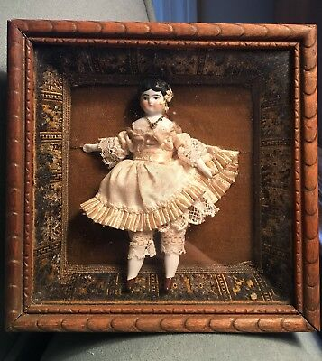 Victorian Porcelain & Bisque Doll in Shadow Box