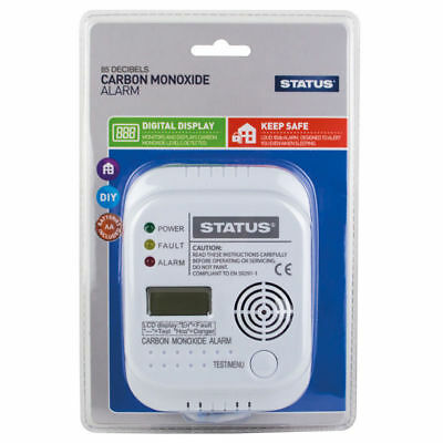 status Digital Display Carbon Monoxide Alarm CO Detector - 7 Year Life EN 50291