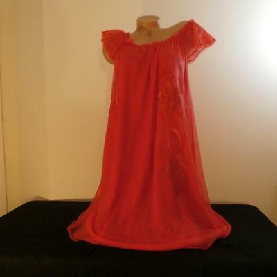 EXQUISITE Vintage Red 50s Chiffon TOP FORM Babydoll Nightdress Nightgown L XL