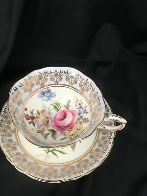 Paragon Double Warrant Pale Blue Gold England Cup and Saucer Rose Bouquet