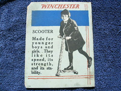 Winchester Store Two Sided Cardboard Sign Poster Scooter Knives Calendar Catalog