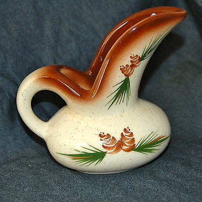 Vintage Romco Pine Cone Small Pitcher Creamer Syrup Hand Painted Rocky Mountain