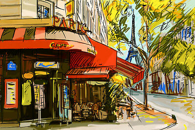Paris with pencil reproduction CANVAS PRINTS FRAMED or UNFRAMED