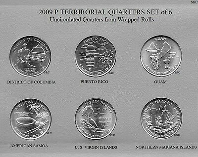 2009 P Mint - Guam & etc., 6 Quarter set Uncirculated Clad, DC & Territorial.