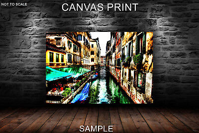 Venice italy channel cafe tables CANVAS PRINTS FRAMED or UNFRAMED