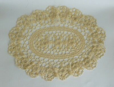 Small Oval Table Cloth Doily Doilies Cream Crochet Floral Textile Lace