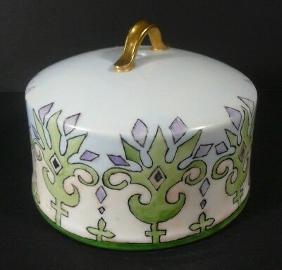 Art Nouveau Hand Painted Cheese Dome Green Purple Blue Gold