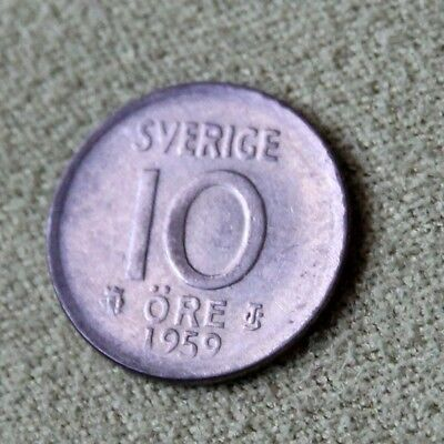 1959 Sweden Silver 10 Ore Average Circulated Condition Scarce Highly Collectible