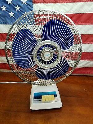 "Vintage Tatung 12"" 3-Speed Oscillating Desk Fan Blue Translucent Blades LC-12PW"