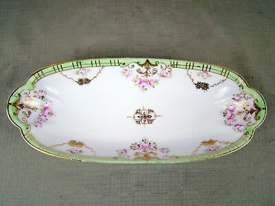 Vintage Hand Painted Nippon Porcelain Dish - Gold Trim - Nut, Relish, Candy Tray