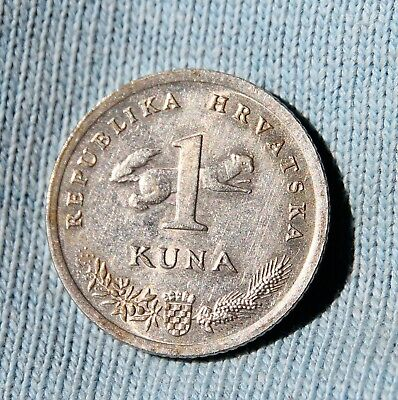 1993 Croatia 1 Kuna Average Circulated Condition & Highly Collectible