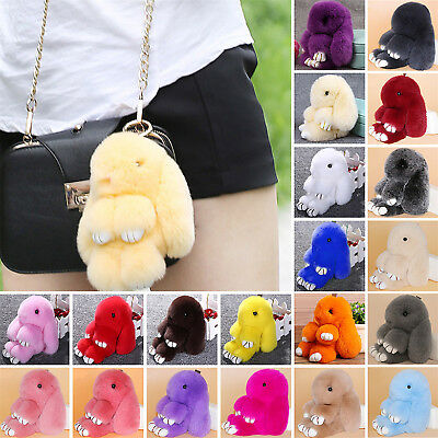 Cute Fur Bunny Fluffy Rabbit Keyring Bag Charm Pendant Handbag Phone Keychain HI
