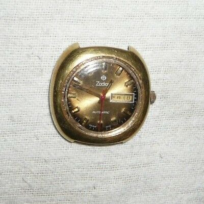 Vintage Zodiac G10 Gold Plated Men's Swiss Automatic Day Date Watch Parts/Repair