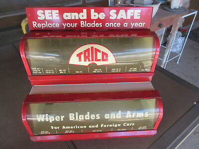 vintage 1950s trico windshield wiper blade store display rack gas station oil