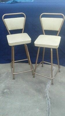 Two small mid century matching Retro Vintage metal frame vinyl seat bar stools