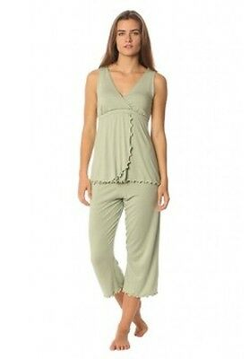 MAJAMAS Size L NEW The Pachisi PJ Soft Organic Nursing Top In Lily NWT