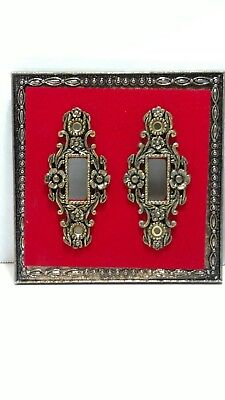 Vintage 70s Double Light Switch Plate Cover Antique Gold Red Edmar Creation SR-4