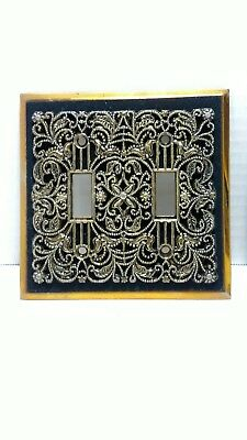 Vintage Double Light Switch Plate Cover Gold & Black Felt Edmar Creation    SR-4