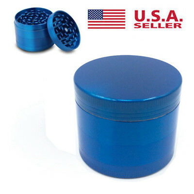 Tobacco Herb Spice Grinder 4 Piece Herbal Alloy Smoke Metal Crusher Blue USA