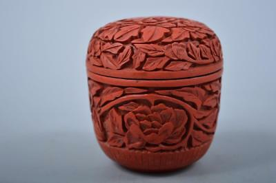 K1792: Chinese Resin Tsuishu pattern TEA CADDY Natsume Chaire