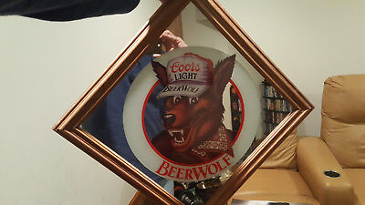 "1986 Framed Coors Light Beer Wolf Mirror Sign Bar Pub Man Cave 16.5"" x 16.5"""