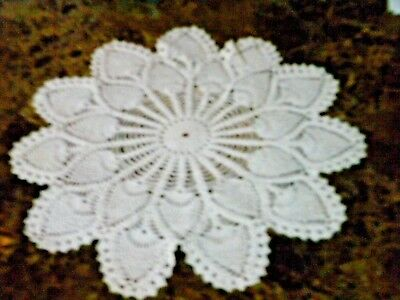 Doily  large round crochet lace leaf pattern